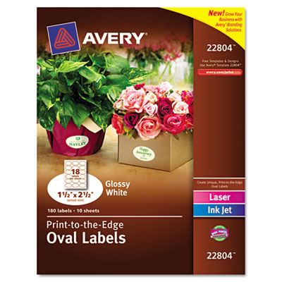 Unique Shapes and Textured Labels, Oval, Glossy, 1-1/2 x 2-1/2, White 180/Pack