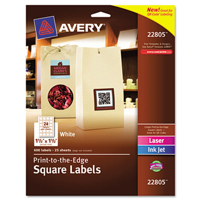 Print-To-The-Edge Matte Square Labels W/ TrueBlock, 1-1/2 x 1-1/2, White 600/Pk