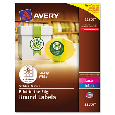 "Unique Shapes and Textured Labels, Round, 2"" Dia., Glossy, White, 120/Pack"