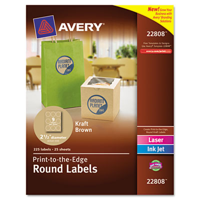 "Unique Shapes and Textured Labels, Round, 2-1/2"" Dia., Brown Kraft, 225/Pack"