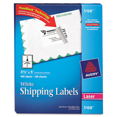 Shipping Labels with TrueBlock Technology, 3-1/2 x 5, White, 400/Box