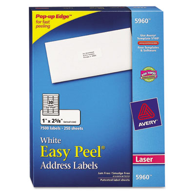 Easy Peel Laser Address Labels, 1 x 2-5/8, White, 7500/Box