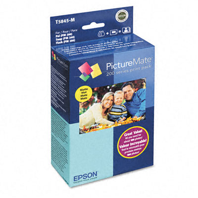 PictureMate Combo Pack 200-Series Ink Cartridge w/100 Matte 4 x 6 Sheets