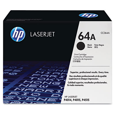 CC364A (HP 64A) Toner, 10000 Page-Yield, Black