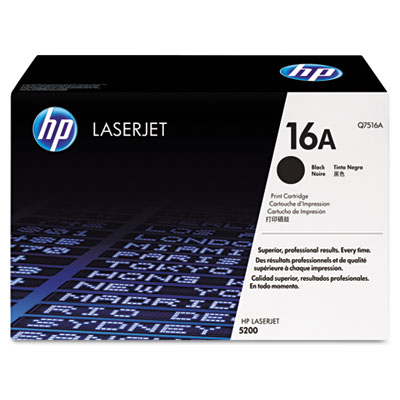 Q7516A (HP 16A) Toner, 12,000 Page-Yield, Black