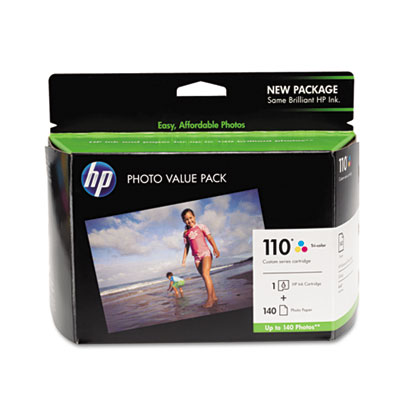 110 Series Ink Cartridge/Photo Paper Value Pack w/140 Glossy 4 x 6 Sheets