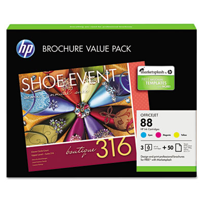 88 Series Officejet Ink Cartridge Combo Pack w/50 Glossy Brochure Sheets