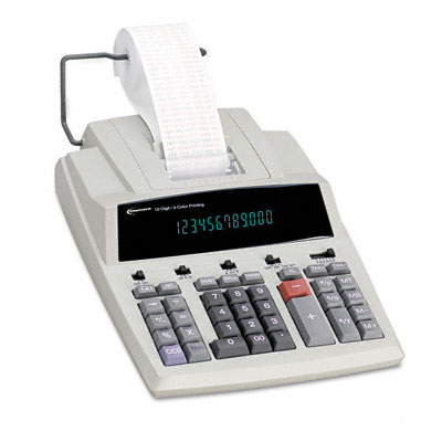 15990 Two-Color Printing Calculator, 12-Digit Fluorescent, Black/Red