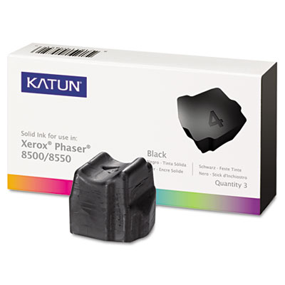 37986 Compatible Solid Ink Stick, 3,000 Page-Yield, Black, 3/Pk