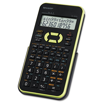 EL-531XBGR Scientific Calculator, 12-Digit LCD, Black/Green