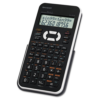 EL-531XBWH Scientific Calculator, 12-Digit LCD, Black/White