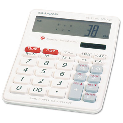 EL-T100AB Brain Exerciser Calculator, 10-Digit LCD, Dual Power