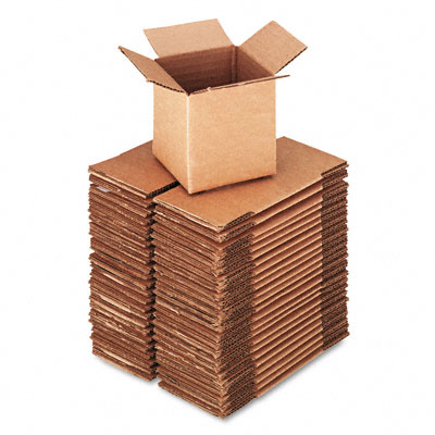 Corrugated Kraft Fixed-Depth Shipping Carton, 4w x 4l x 4h, Brown, 25/Bundle