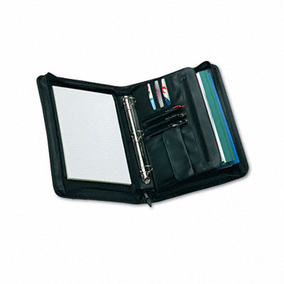 Zip-Around Padfolio, Vinyl, 14-1/2 x 2-3/4 x 11-1/2, Black