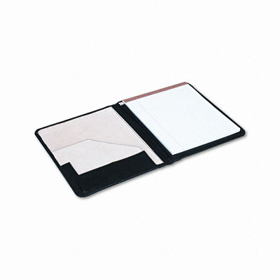 Pad Holder, Suede-Lined Leather, w/Writing Pad, Inside Flap Pocket, Black