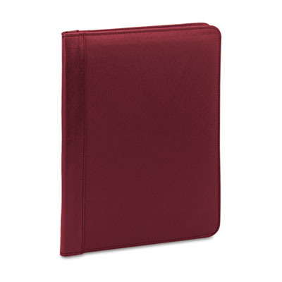 Pad Holder, Suede-Lined Leather w/Writing Pad, Inside Flap Pocket, Burgundy