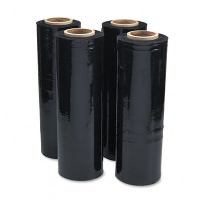Black Stretch Film, 18w x 1,500' Roll, 20 Micron (80 Gauge), 4 Rolls/Carton
